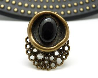 Petite bague pierre noire Onyx semi-précieuse en métal bronze NEBULLE réglable ajustable