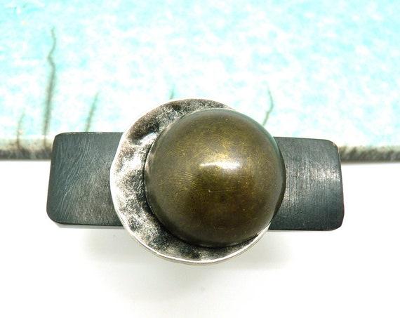 Large long cross-ring in black horn black silver silver and metallic resin orIZA adjustable adjustable orIZA