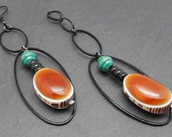 Boucles d'oreilles Longues orange et turquoise en métal noir bois os résine SLIKA option Clips