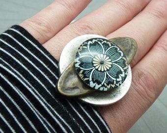 Bague fleur argent et bronze SOULFLOWER réglable ajustable