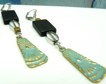 Earrings in black wood glass ochre hematite stone and pendant silver metal and bronze patinated blue SUN option Clips