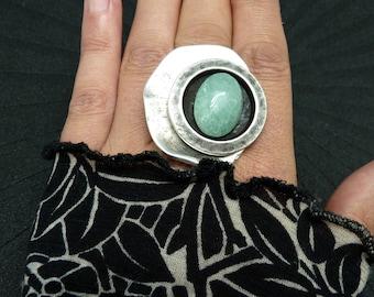 Grosse Bague argent pierre aventurine vert clair décalée graphique et minimale GRECCA AVENTURINE réglable ajustable Best seller
