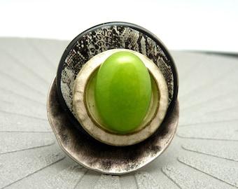 Grosse Bague argent pierre agate vert anis motif serpent GREENSNAKE réglable ajustable