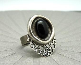 Bague argent pierre noire Onyx NEBULLE réglable ajustable