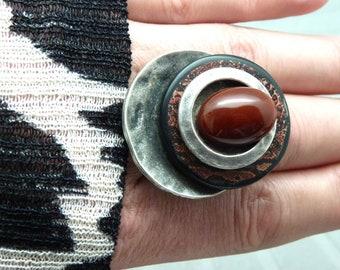 Grosse Bague argent pierre agate bordeaux motif serpent REDSNAKE réglable ajustable