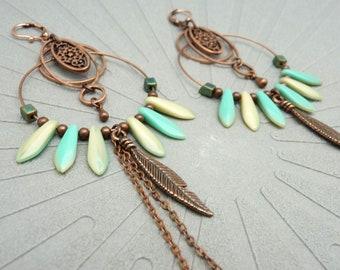 Créoles Boucles d'oreilles verre écru menthe turquoise métal cuivre / avec ou sans chaîne(s) / ou asymétriques BOHEMIA option clips