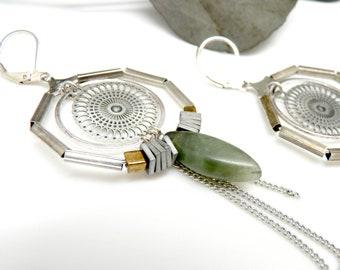 Boucles d'oreilles créole argent verre pierre serpentine verte hématite  VOLTA option Clips