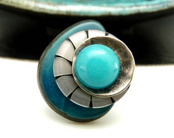 Blue Ivory ring vegetal tagua seed, metal resin and tinted agate stone, ethnic and graphic, adjustable adjustable TAWA adjustable