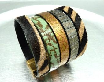 Bracelet manchette cuir zèbre fermoir magnétique aimanté bronze  large 5 cm ethnique  AMAZEBRA