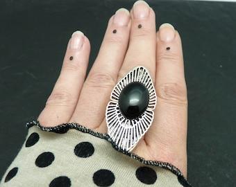 Bague longue argent pierre noire onyx, art déco, OSMOSE ONYX réglable ajustable