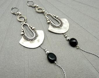 Boucles d'oreilles argent pierre noir Onyx ethnique KALIMBA option clips Best seller
