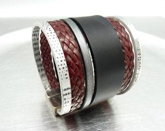 Bracelet manchette cuir noir argent bordeaux fermoir magnétique aimanté large 5 cm ethnique  GOODNEWS