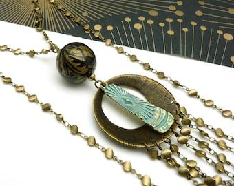 Long Collier sautoir lasso métal bronze bleu oxydé multi-chaînes pierre Amazonite ANNEES FOLLES