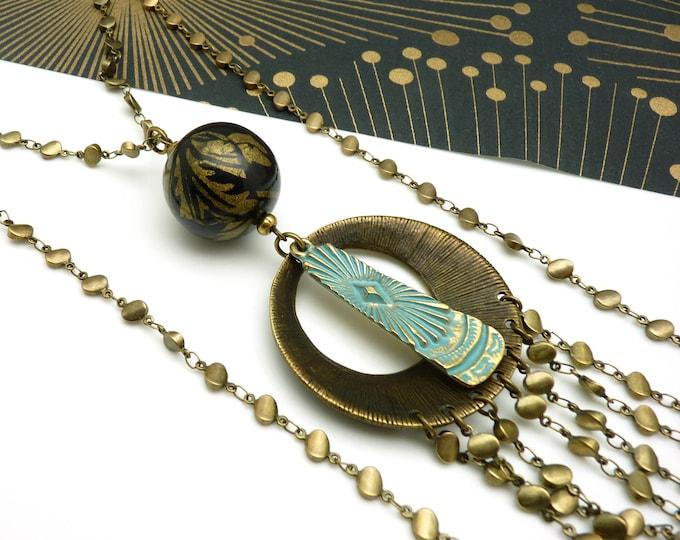 Featured listing image: Long Collier sautoir lasso métal bronze bleu oxydé multi-chaînes pierre Amazonite ANNEES FOLLES