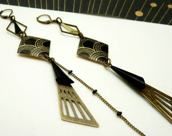 Long asymmetrical earrings bronze and black art deco glittered gold LOSA option clips Best seller