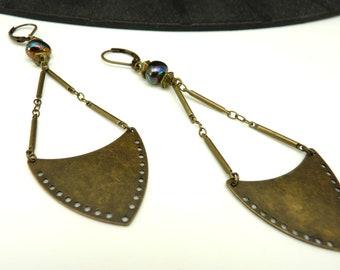 Boucles d'oreilles en métal bronze et verre ethnique ZOULOVE GLASS option Clips