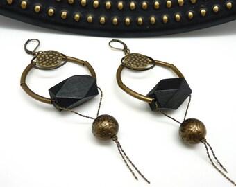 Boucles d'oreilles créoles noir et bronze en bois métal et résine métallisée graphique chic CREOLOVE  option Clips