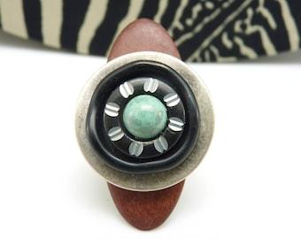 Bague longue en bois bordeau argent turquoise et noir en métal et verre graphique  CASINO réglable ajustable