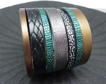 Bracelet manchette cuir magnétique aimanté bronze noir or, bleu canard, gris, large 5 cm OZORA Best seller