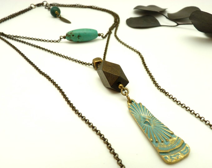 Featured listing image: Long turquoise stone necklace multi-chain bronze pendant blue and brown wood LEKTRA TURQUOISE