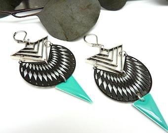 Boucles d'oreilles graphiques argent turquoise et noir en métal et résine   ASTEL  option Clips