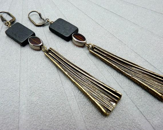 Long earrings in black wood orange glass and bronze metal, ethnic art deco, FIERTA option Clips