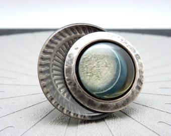 Grosse Bague bleu et gris résine et argent, solaire, ECLIPSE réglable ajustable