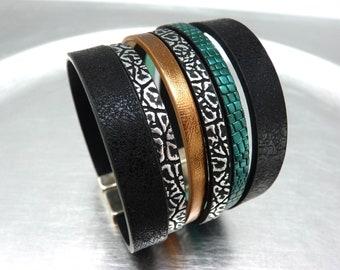 Bracelet manchette cuir simili fermoir argent magnétique aimanté large 4 cm ethnique vegan  DANCEFLOOR Best seller
