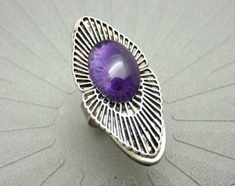 Bague longue argent pierre violette améthyste, art déco, OSMOSE AMETHYSTE réglable ajustable