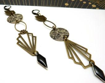 Boucles d'oreilles art déco asymétriques bronze et noir ROSA option clips