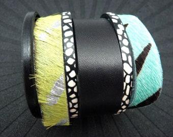 Bracelet manchette cuir femme magnétique aimanté argent vert anis turquoise zèbre poil, noir et blanc, large 6 cm  TRANCE