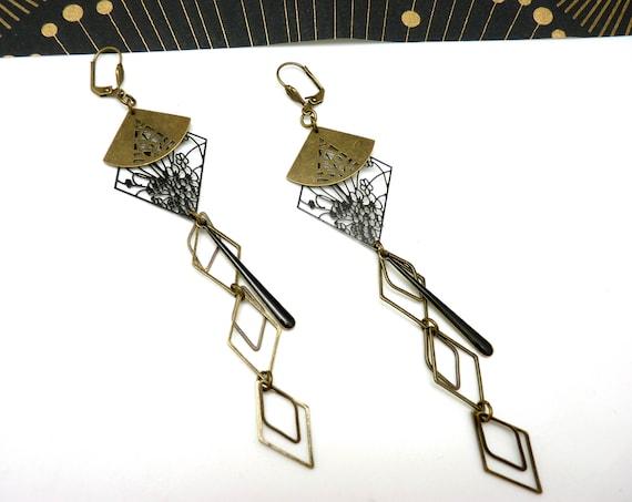 Long bronze earrings and black Japanese watermark metal enamel YUGAMI option clips
