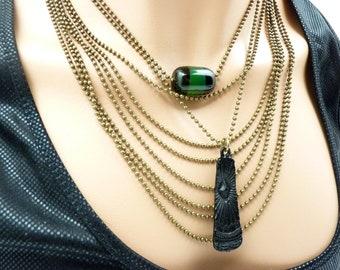 Collier plastron multi-chaine bronze pierre agate vert et noir AGATINA