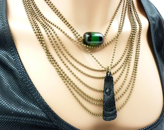 AGATINA green and black agate stone bronze plastron necklace