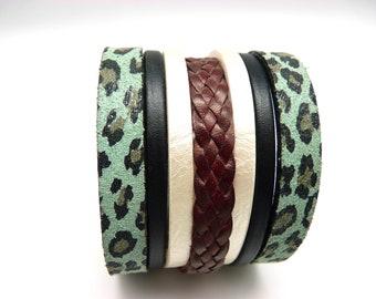 Bracelet manchette cuir léopard bleu noir blanc bordeaux fermoir aimanté magnétique bronze large 5 cm LEO