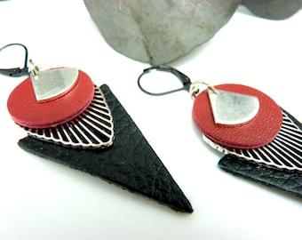 Boucles d'oreilles graphiques en cuir rouge et noir et métal argent  TRIJUST option Clips