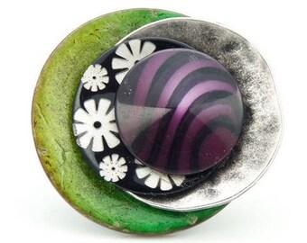 Grosse Bague en bois vert anis  japonisante nacre fleur résine violette  JAPONE réglable ajustable Best seller