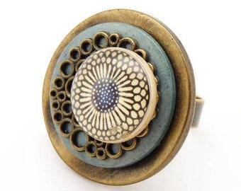 Bague bois bleu jean coeur de  fleur en métal bronze et résine NEBULEUSE réglable ajustable