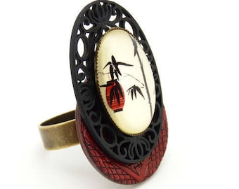 Bague bois rouge et noire métal dentelle japonisante ASIA réglable ajustable