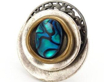 Grosse bague métal argent vieilli, bronze et nacre abalone pawa PACIFIQUE par Kumka réglable ajustable