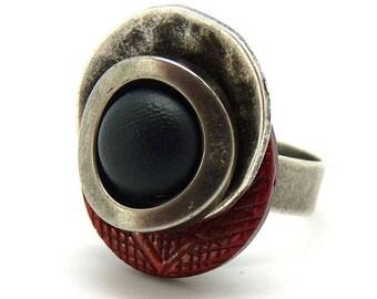Bague bois ethnique argent rouge noir métal résine NEW RETRO réglable ajustable Best seller
