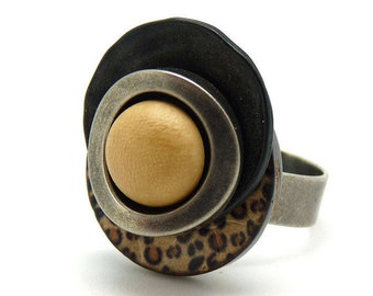 Bague  bois léopard, résine, métal, ethnique LEOPARD réglable ajustable Best seller