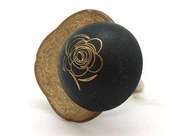 Bague bronze et noire ROSEGOLD en métal réglable ajustable