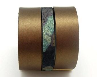 Bracelet manchette en cuir large magnétique aimanté bronze camouflage festival  5 cm FREEPARTY