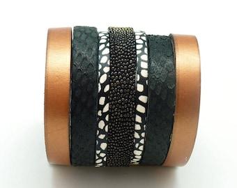 Bracelet manchette cuir large magnétique aimanté large 6 cm CUIVRE