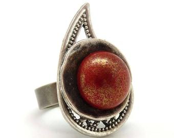 Bague argent longue en métal et verre rouge CACHEMIR  réglable ajustable Best seller !