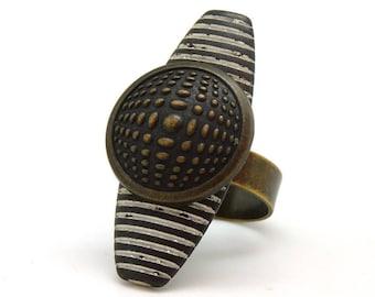 Bague longue bronze en métal motif graphique vasarely  KALEÏDOSCOPE réglable ajustable