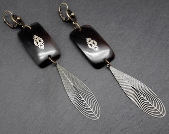 Boucles d'oreilles longues et légères en corne noire métal bronze ETE INDIEN option Clips dernière paire !