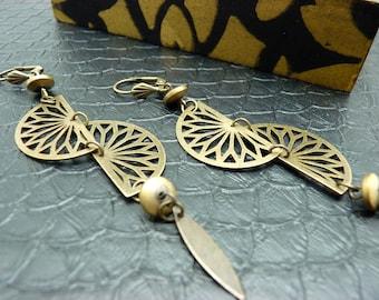 Boucles d'oreilles art déco en métal bronze pierre pyrite MAGDALENA option clips