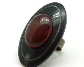 Grosse Bague pierre rouge Cornaline ovale corne noire, ethnique CORNELA réglable ajustable